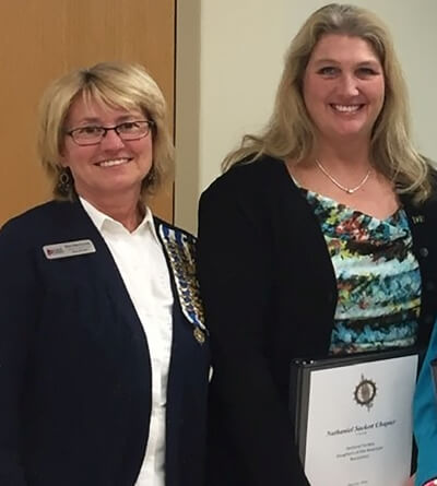 DAR's Nathaniel Sackett Chapter's Becky Jansen (left) and Terri Gertz-Kelsey (right)