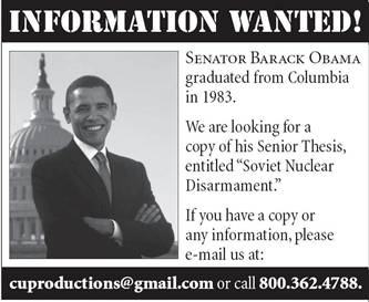 columbia thesis obama Barack obama dissertation barack obama dissertation the latest report on obamas missing thesis comes from msnbc written his senior year at columbia university.