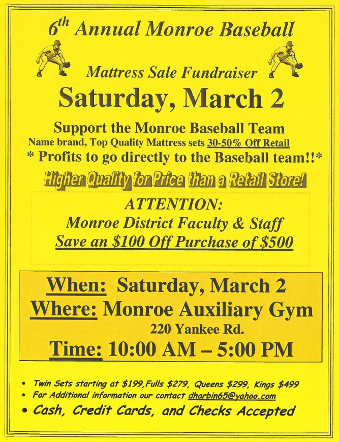 monroe baseball fundraiser this saturday